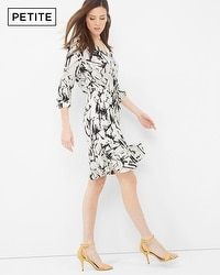 Petite Contrast Print Drawstring Dress