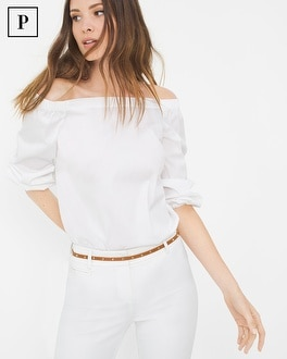 Petite Off-The-Shoulder Poplin Blouse