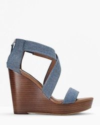 Chambray Wedge Sandals