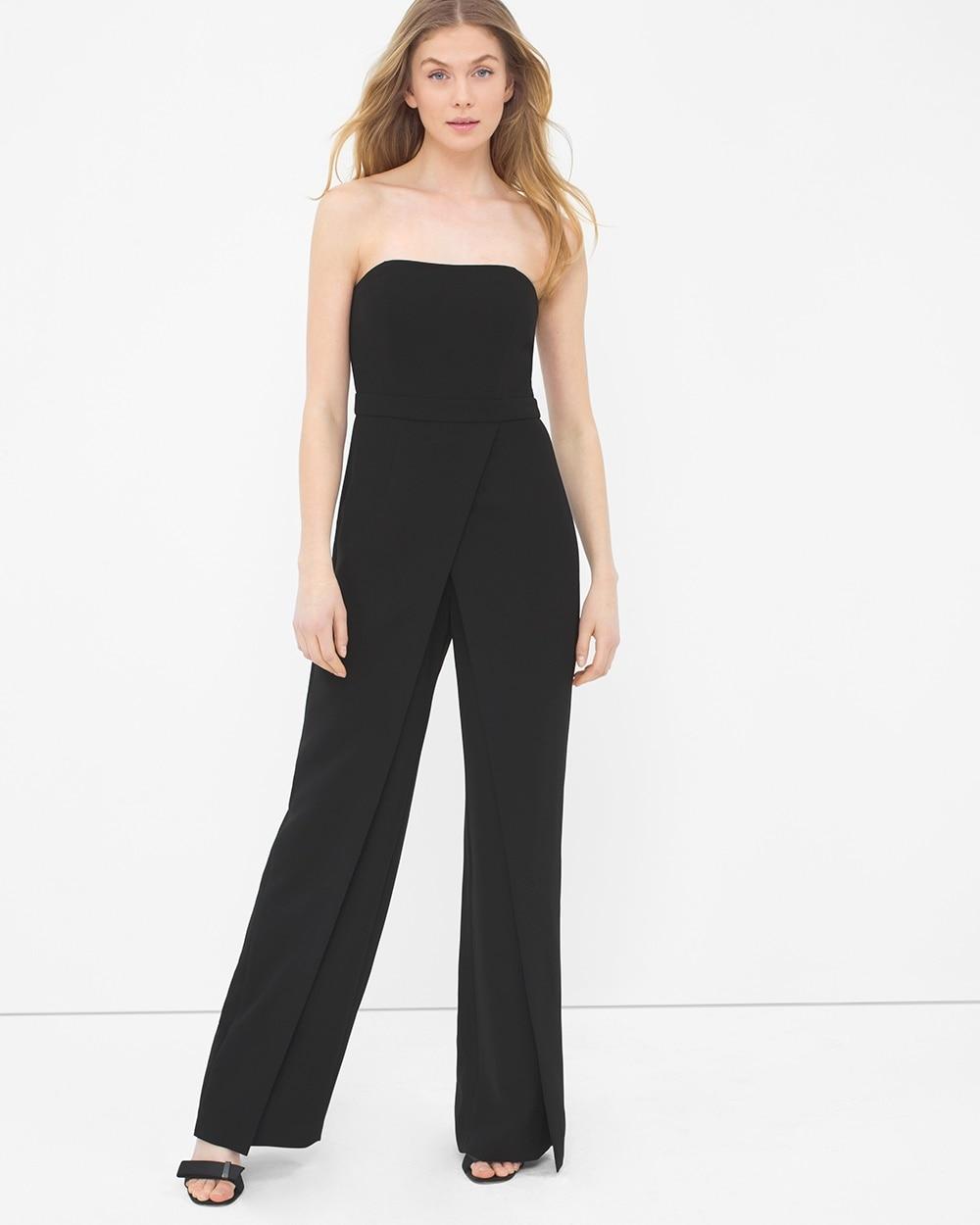 Convertible Black Strapless Split Pant Jumpsuit White House Black