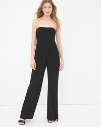 Convertible Black Strapless Split-Pant Jumpsuit