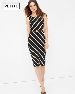 Petite Diagonal Stripe Sheath Dress