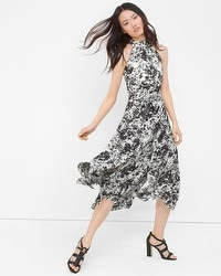 Printed Chiffon Fit-and-Flare Dress