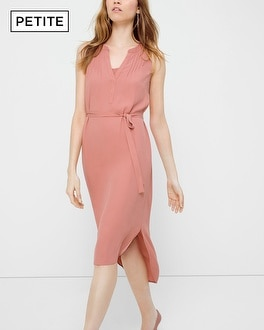 Petite Bib Neck Midi Dress