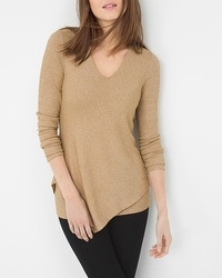 Asymmetric-Hem Ribbed Sweater