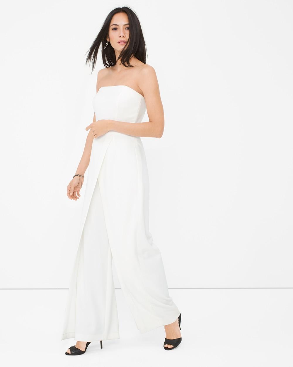 Convertible White Strapless Split Pant Jumpsuit White House Black