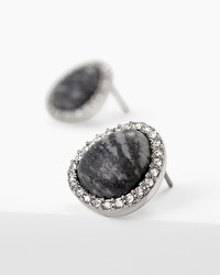 Black Line Stone Stud Earrings