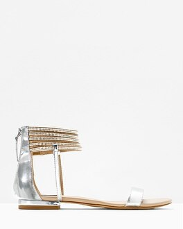 Embellished Ankle-Wrap Sandals