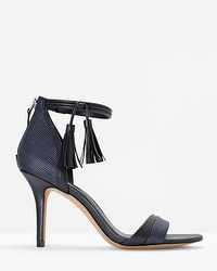 Leather Tassel Ankle-Strap Heels