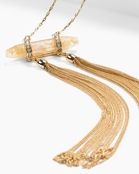 Yellow Stone Shard Tassel Pendant Necklace