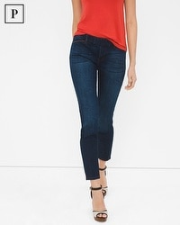 Petite Leather Trim Skinny Crop Jeans