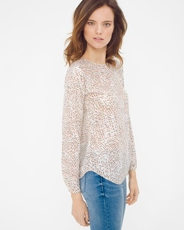 Silk V-Back Printed Blouse