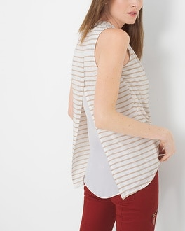 Stripe Surplice Overlay Top