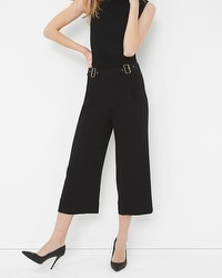 Buckled Wide-Leg Crop Pants