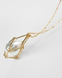 Caged Glass Pearl Pendant Necklace
