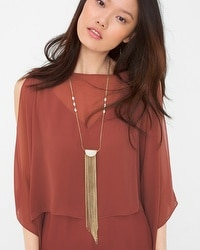 Shell Drop Long Fringe Necklace