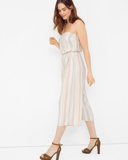 Strapless Stripe Culotte Jumpsuit