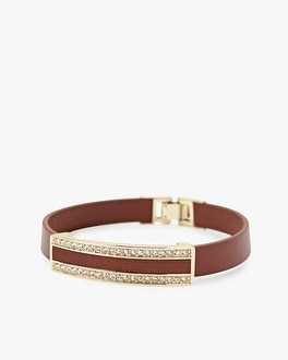 Leather and Pave Bracelet