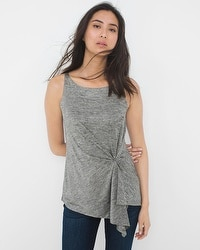 Sleeveless Pleat-Waist Tunic