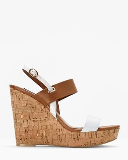Tri-Color Cork Wedge Sandals