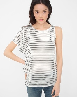 Stripe One-Sleeve Flounce Top