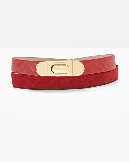Stretch-back skinny belt in ash Sized at the waist Hook front closure Silvertone hardware Leather lining Approx. 3/4