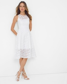 Geo Lace Fit-and-Flare Dress