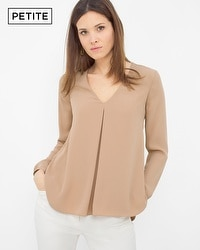 Petite Long Sleeve Pleated Front Blouse