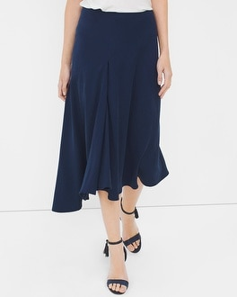Front-Pleat Asymmetric Midi Skirt