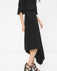 Asymmetric Pleat-Waist Maxi Skirt