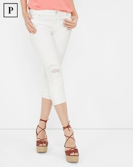 Petite Distressed White Skinny Crop Jeans