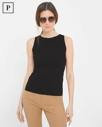 Petite Sleeveless Ribbed Knit Sweater