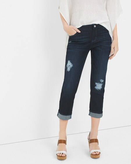 Distressed Straight Crop Jeans