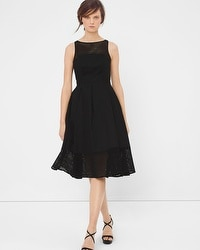 Eyelet Trim Fit-and-Flare Black Dress