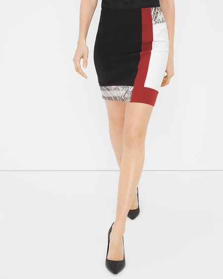 Colorblock Embroidered Pencil Skirt