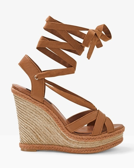 Ankle-Wrap Leather Wedge Sandals