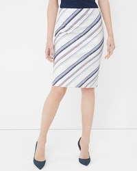 Stripe Embroidered Pencil Skirt