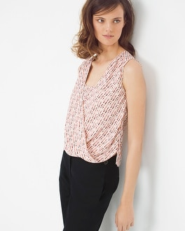 Printed Surplice Drape Top