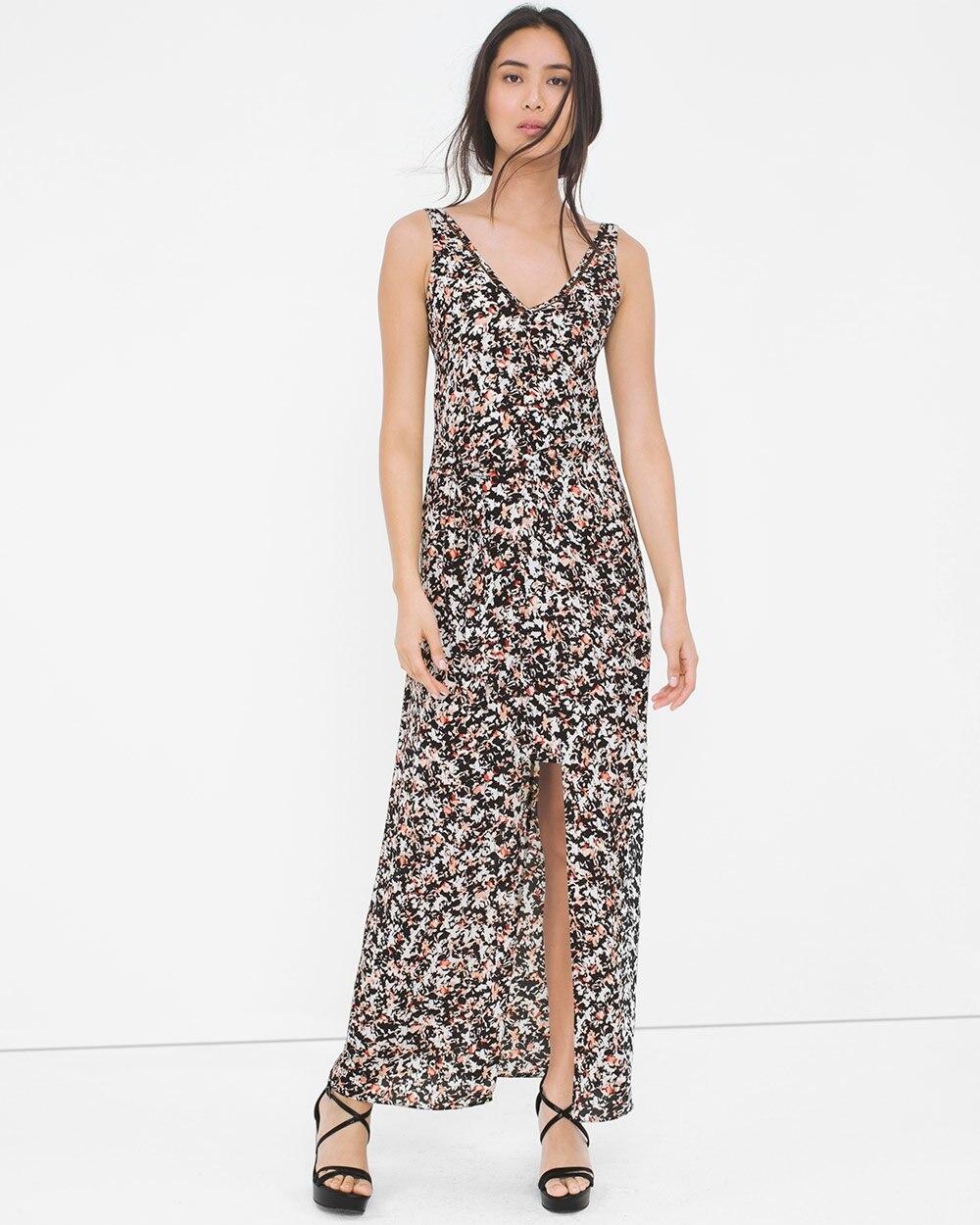 f6e994dc0103e V-Neck Floral Print Maxi Dress - White House Black Market