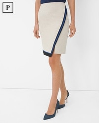 Petite Colorblock Trim Wrap Skirt