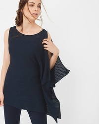Asymmetric Drape Sleeve Shimmer Sweater