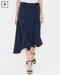 Petite Front-Pleat Asymmetric Midi Skirt