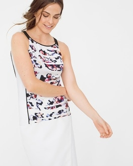 Sleeveless Floral Colorblock Top