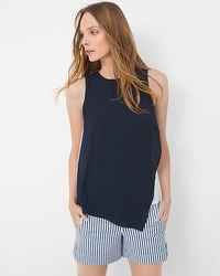 Woven Overlay Shell Top