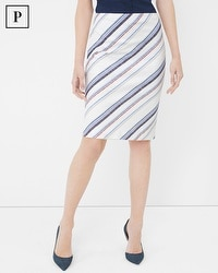Petite Stripe Embroidered Pencil Skirt