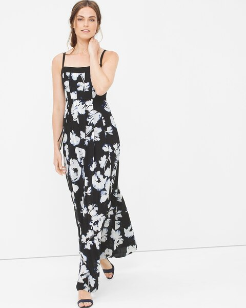 pleated floral maxi dress whbm