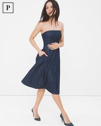 Petite Strapless Denim Fit-and-Flare Dress