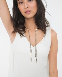 Shell Chain Drop Open Collar Necklace