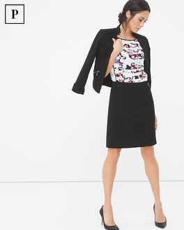 Petite Button-Waist Pencil Skirt
