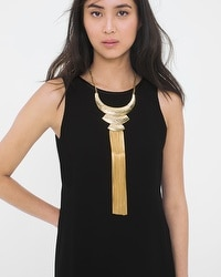 Hammered Collar Fringe Necklace